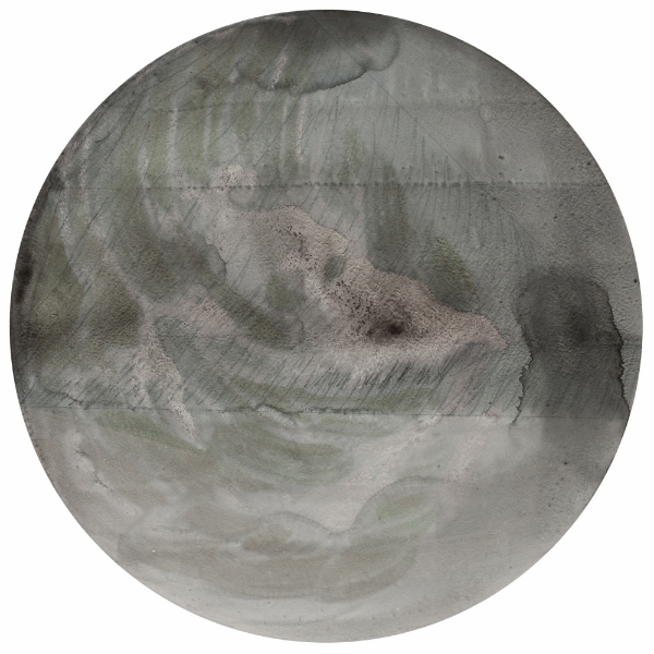 RP 13-5, 2014, charcoal and acrylic on canvas, 60 cm diameter (23 5/8 inches)