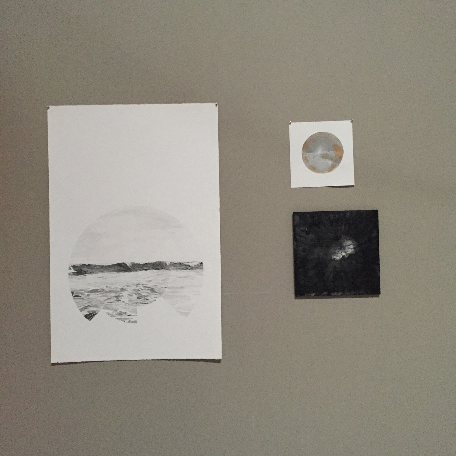 A studio view from 2015. Pencil drawing, 2014, acrylic on plastic plate, 2013, square panel, date unknown