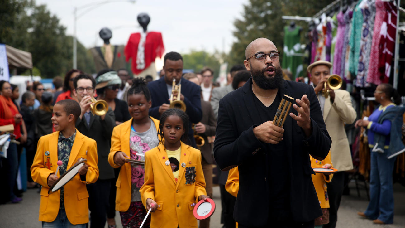 Photo: Brian Nguyen  Jazz drummer Mikel Patrick Avery leads his parade Sept. 27, 2015, at the Hyde Park Jazz Festival on Chicago's South Side.