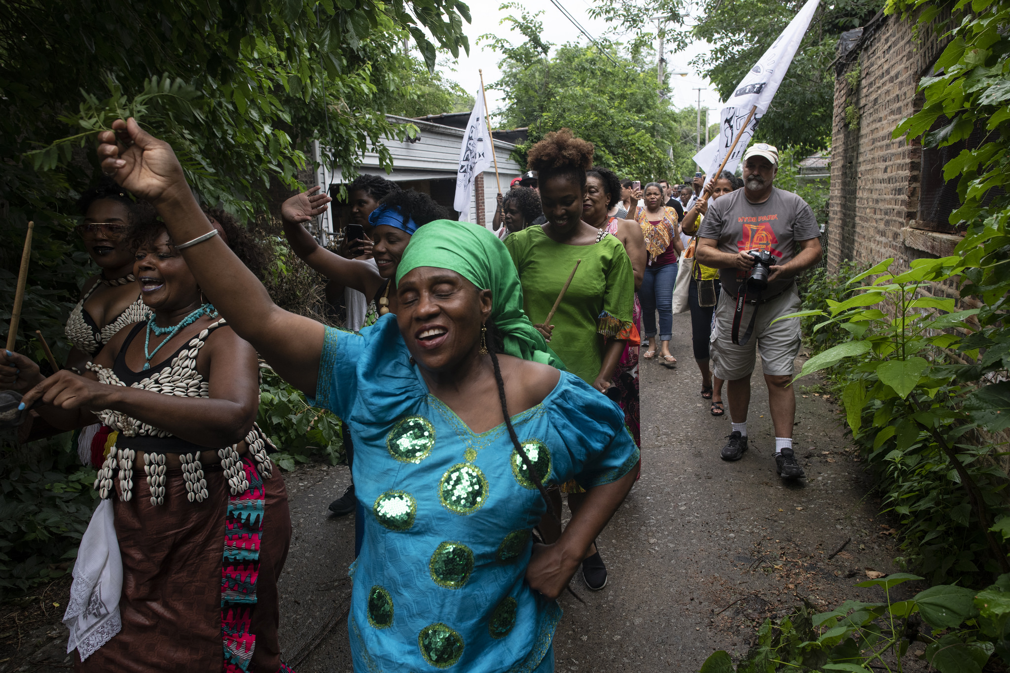 An opening procession of musicians, dancers and artists kicks off South Shore's Back Alley Jazz event. All photos by Marc Monaghan.