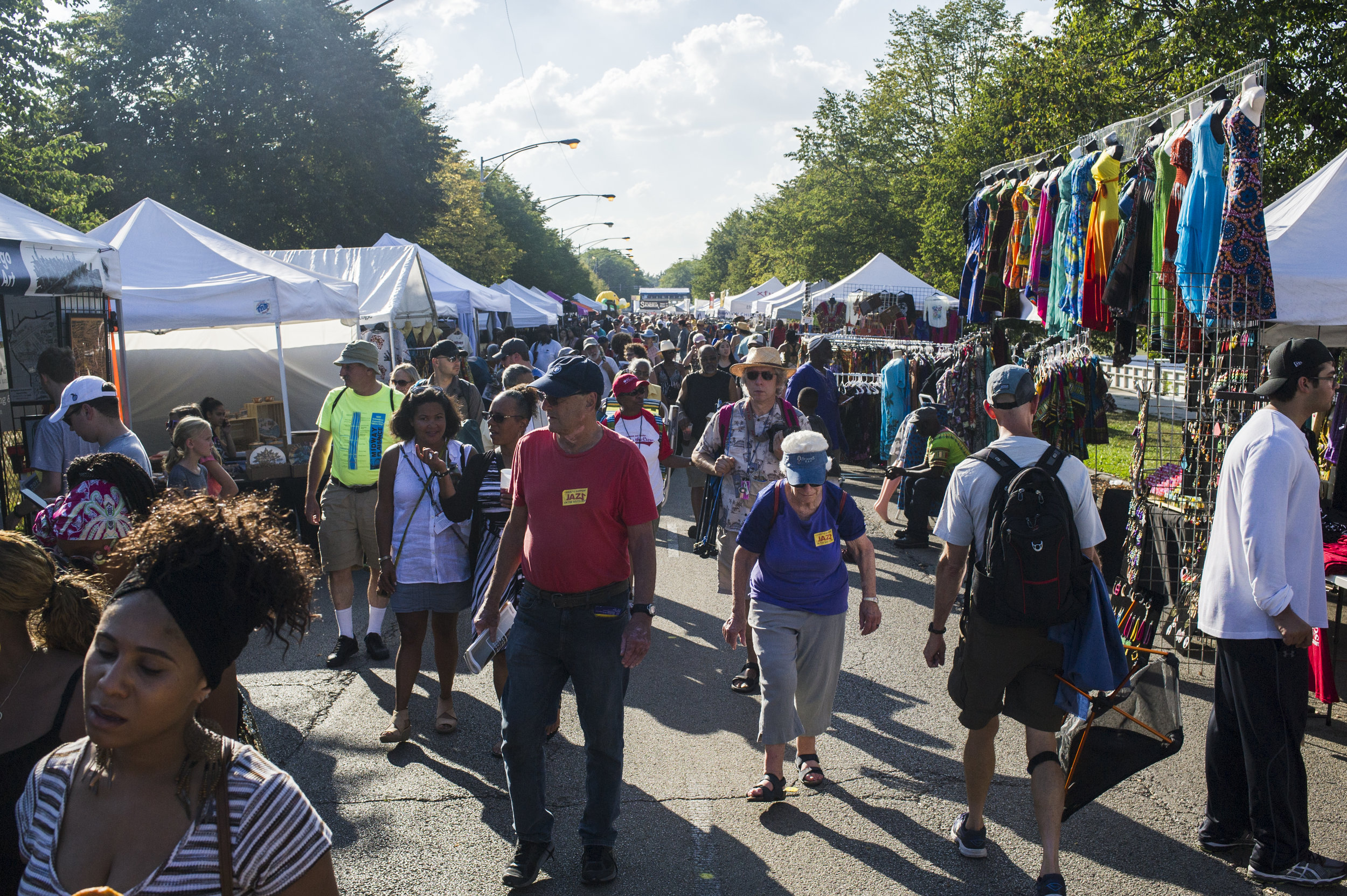 The Midway Plaisance transforms into a marketplace during the Hyde Park Jazz Festival.    PHOTO BY MARC MONAGHAN PROVIDED BY HYDE PARK JAZZ FESTIVAL