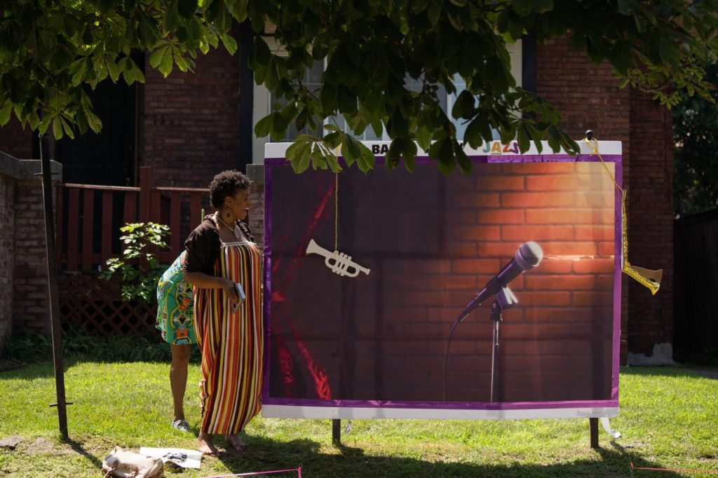Jazz-related art was installed on a South Shore resident's front yard during Back Alley Jazz Fest.