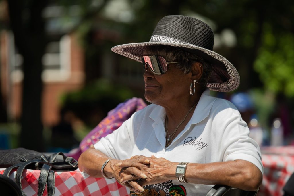 Shirley Crossley listens to music during the Back Alley Jazz Festival in South Shore.