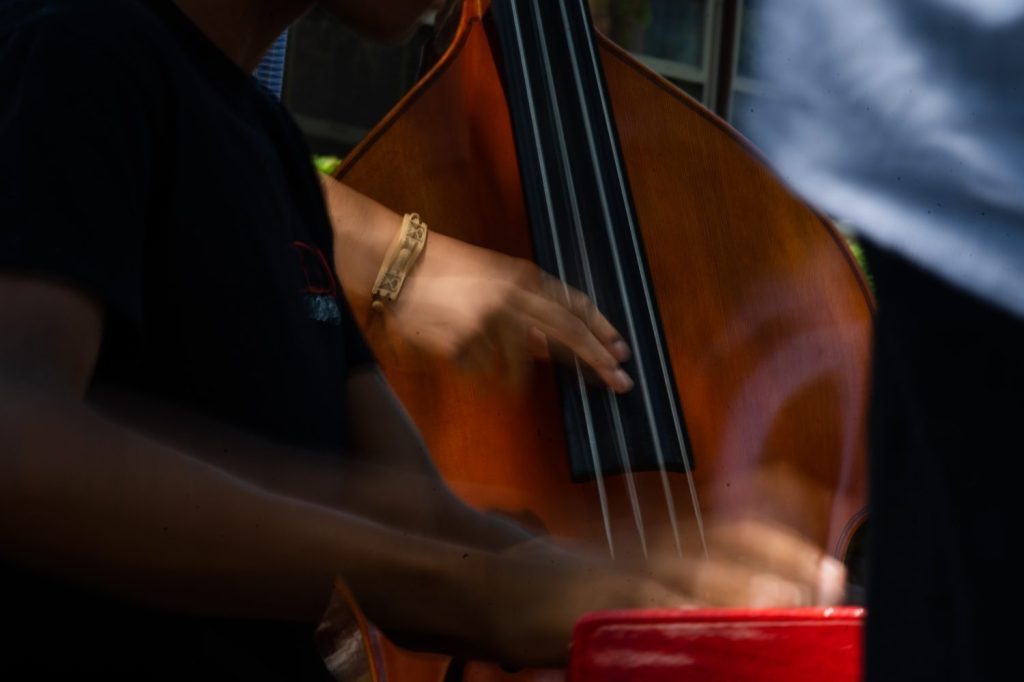 Musicians play their instruments during the Back Alley Jazz fest in South Shore.