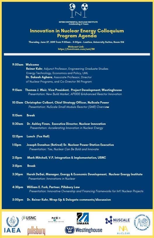 June 27th Innovation in Nuclear Energy Colloquium programme