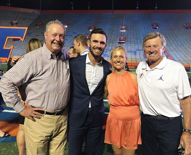 GO GATORS! A huge congratulations to @billyho_golf on his induction into the @floridagators Hall of Fame. Not to mention, Billy and Brittany had the opportunity to spend time with two other UF greats, Buddy Alexander and Steve Spurrier.  Along with his dad, Billy credits Buddy as one of the people who has had the greatest impact on him as a man and a golfer. Well deserved, Billy Ho 🐊🙌🏼