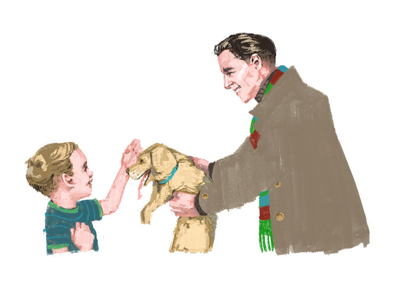 Dad presents his son with a golden puppy  for Out There / Fererro Rocher by Marc Aspinall