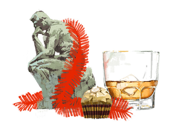 The Thinker, a chocolate and a short of scotch  for Out There / Fererro Rocher by Marc Aspinall