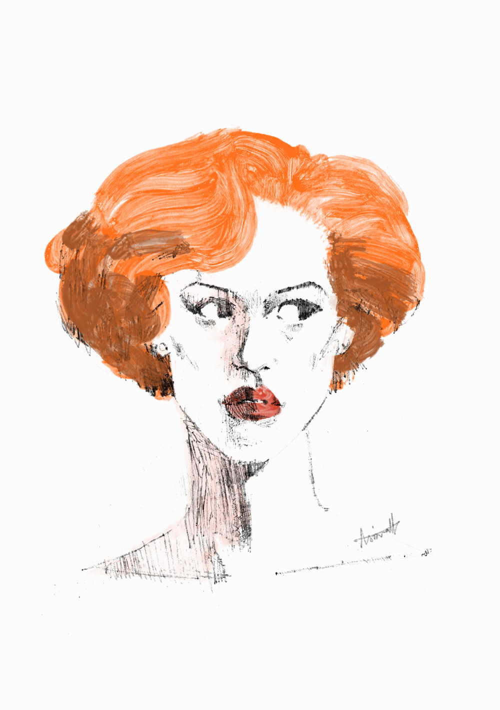 Pretty in Pink, Portrait of Molly Ringwald by Marc Aspinall