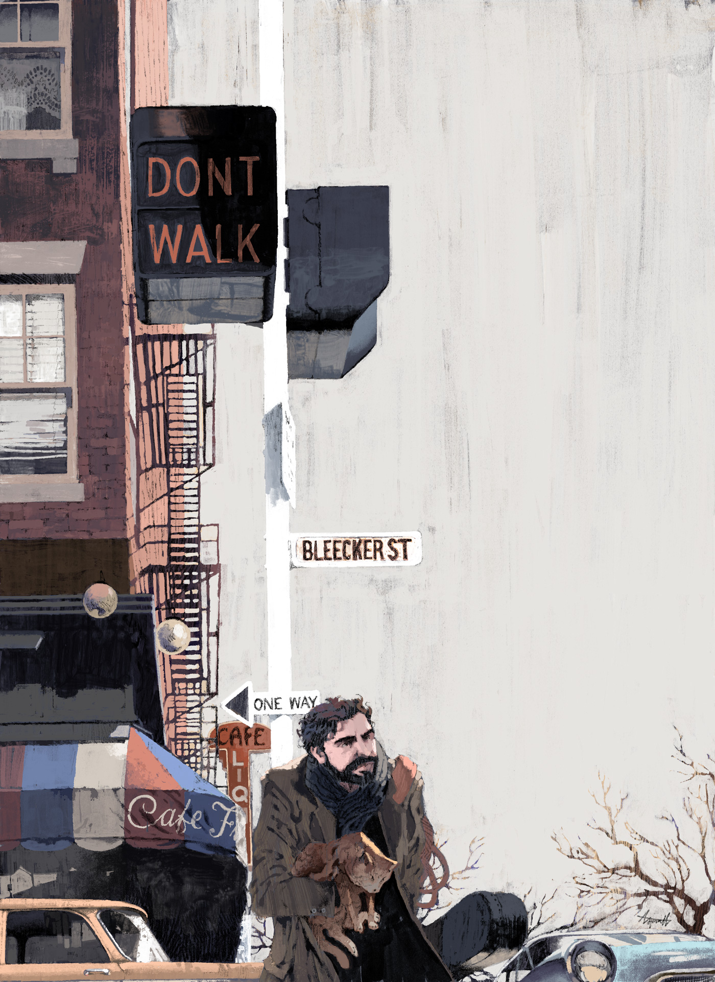 Oscar Isaac as Llewyn Davis for The New Yorker by Marc Aspinall