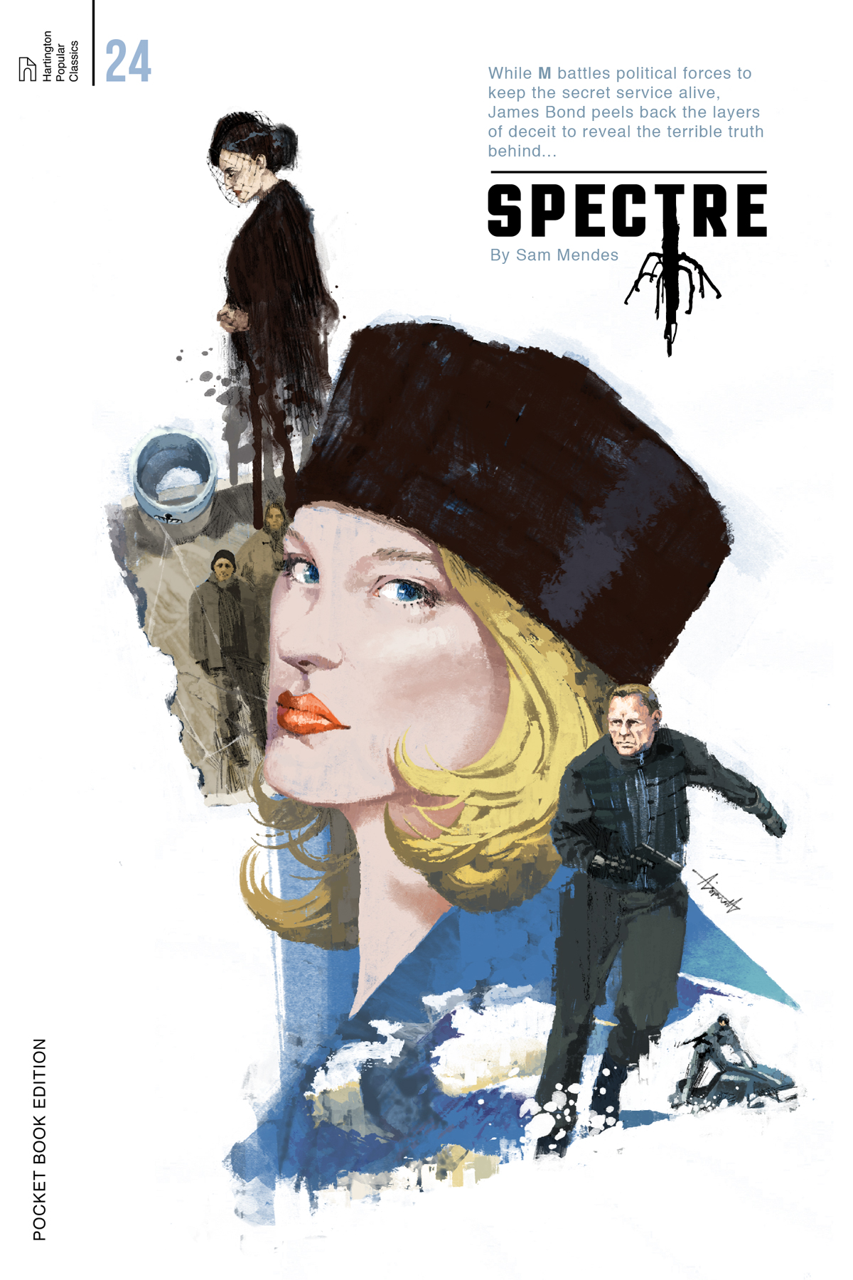 Spectre starring Daniel Craig James Bond book cover by Marc Aspinall