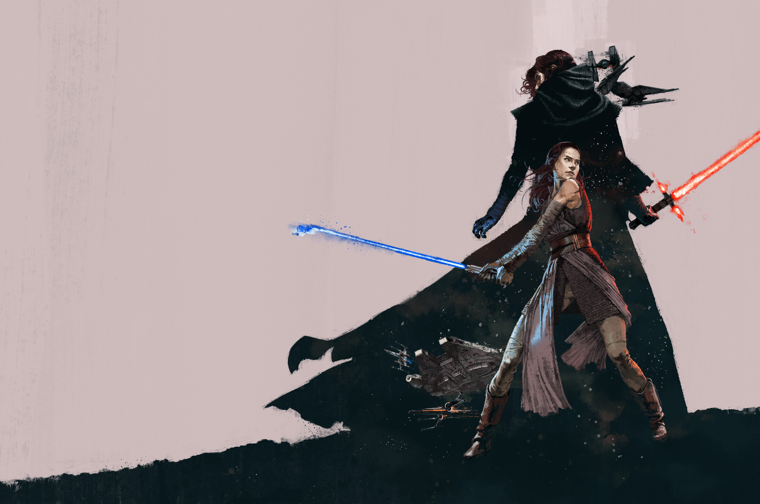 Rey and Kylo-Ren in Star Wars The Last Jedi for Birth Movies Death Magazine by Marc Aspinall