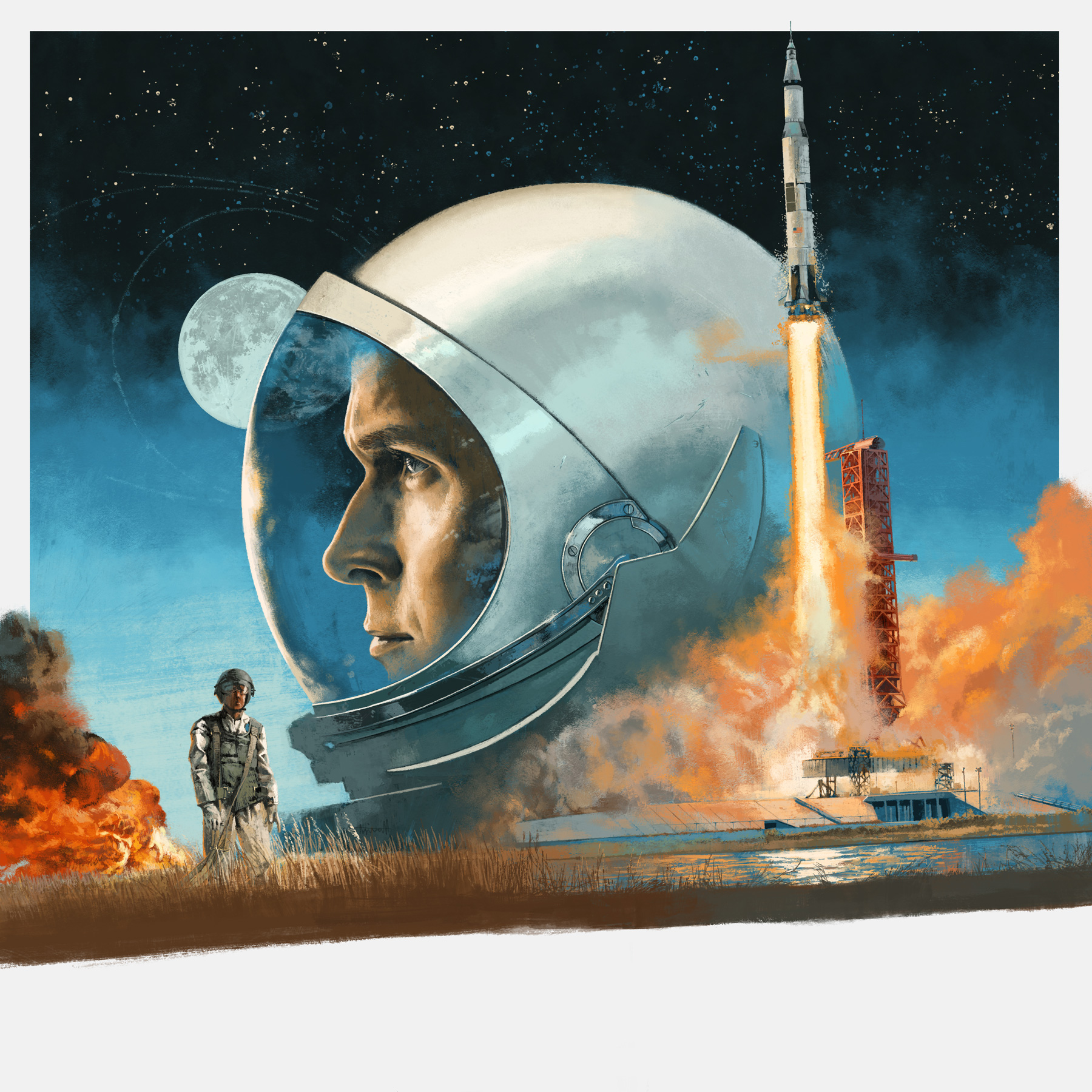 First Man Vinyl artwork for Mondo by Marc Aspinall
