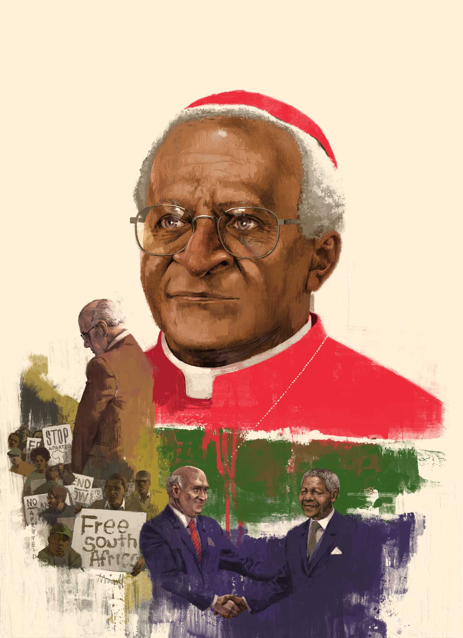 Desmond Tutu for Le Parisian by Marc Aspinall