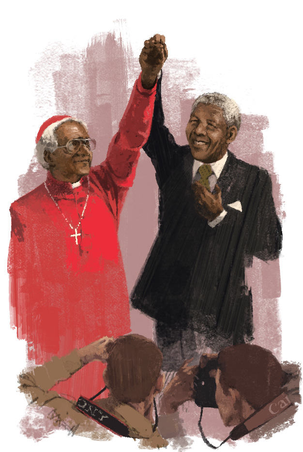 Desmond Tutu and Nelson Mandela for Le Parisien Magazine by Marc Aspinall