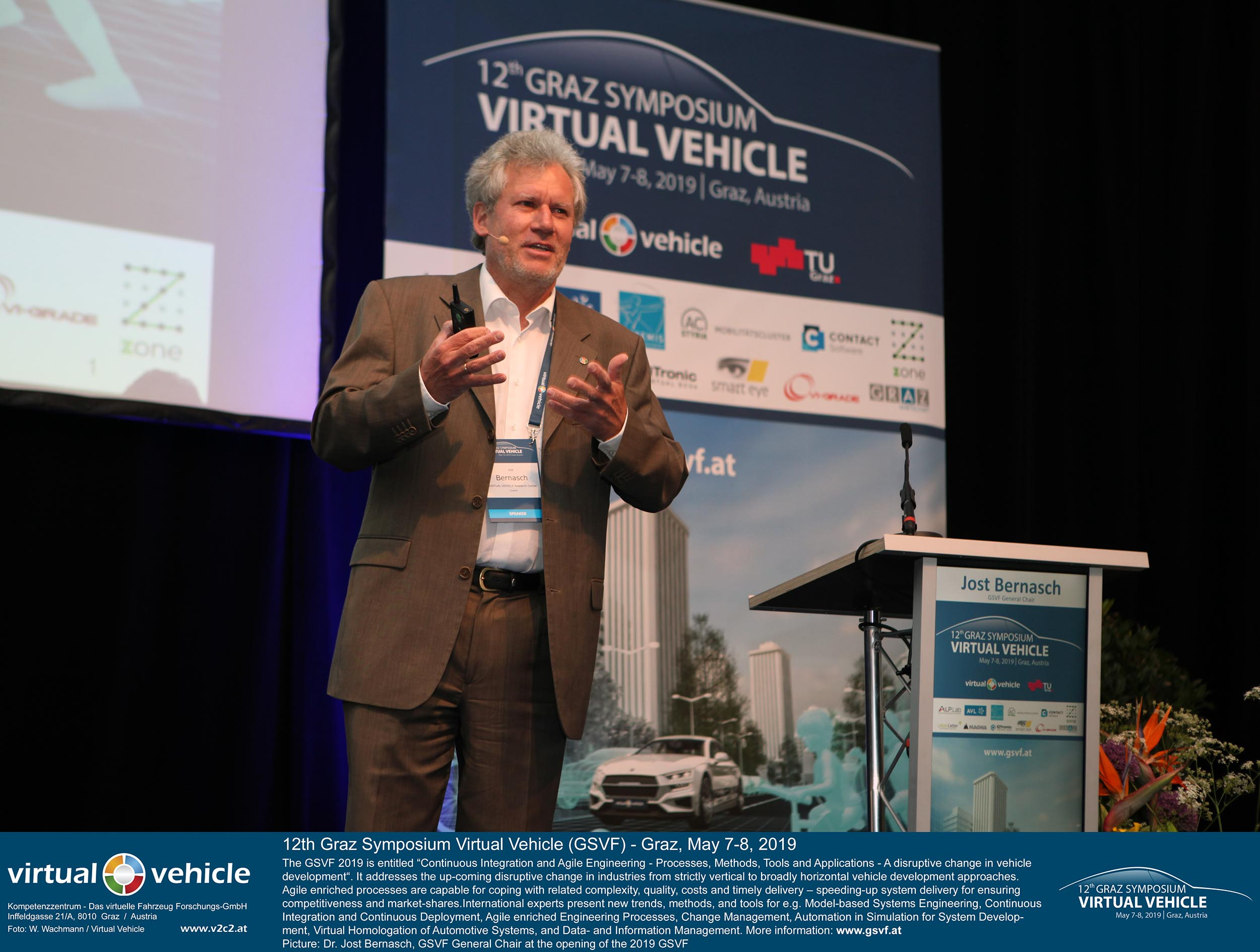 Eröffnung des 12. Grazer Symposiums Virtuelles Fahrzeug 2019 durch Dr. Jost Bernasch (GF VIRTUAL VEHICLE), General Chair des GSVF am 7. Mai in der Seifenfabrik Graz. ©VIRTUAL VEHICLE