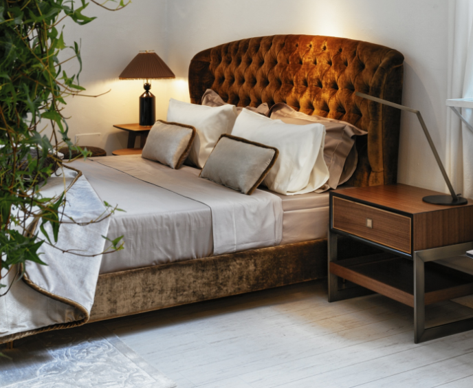Savoi Bed with Madison bedside table from Black Tie