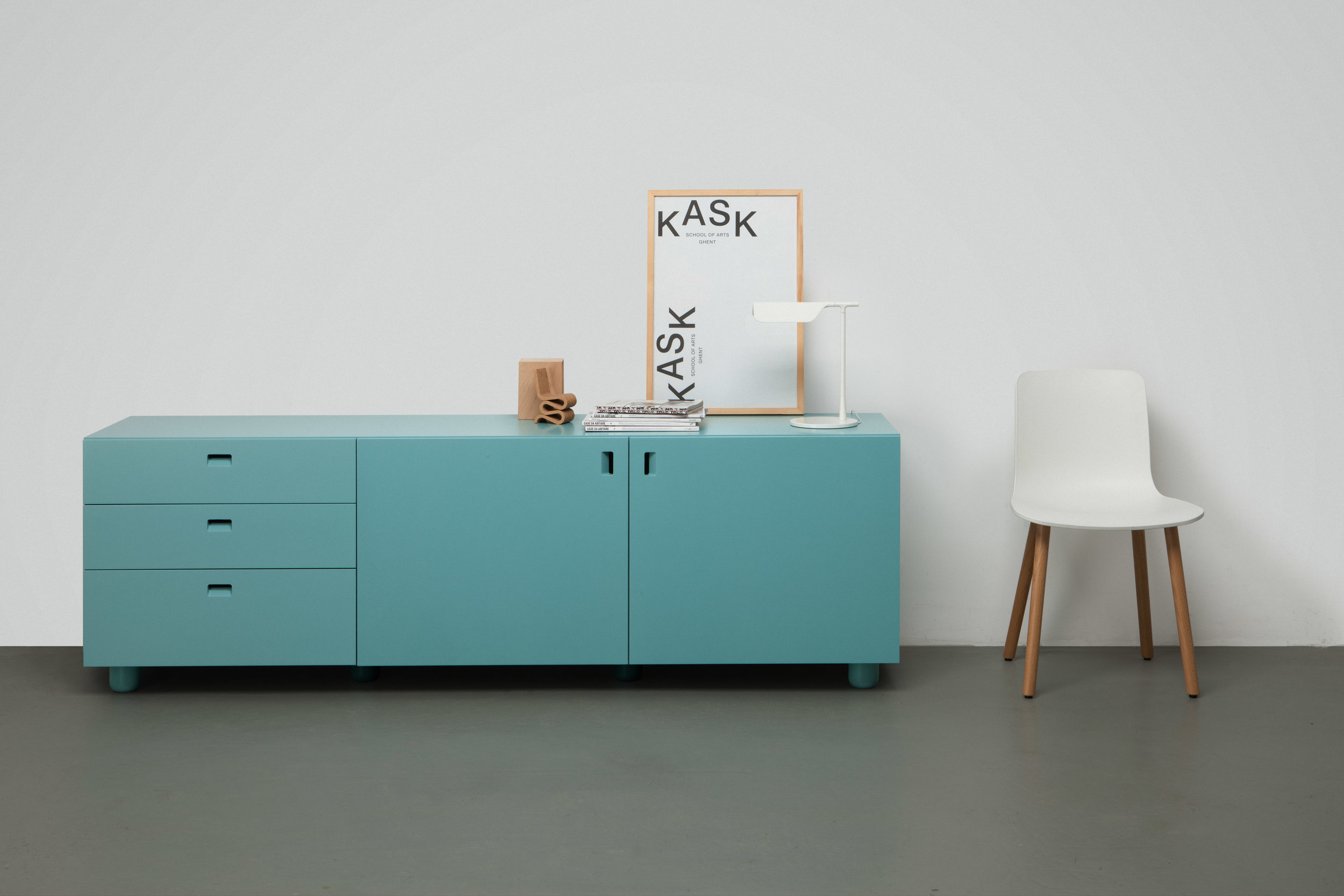 Satellite Cabinet with wood legs by Quodes