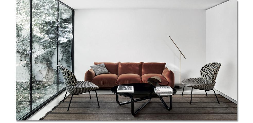 Marenco sofa and Tellin lounge for Arflex