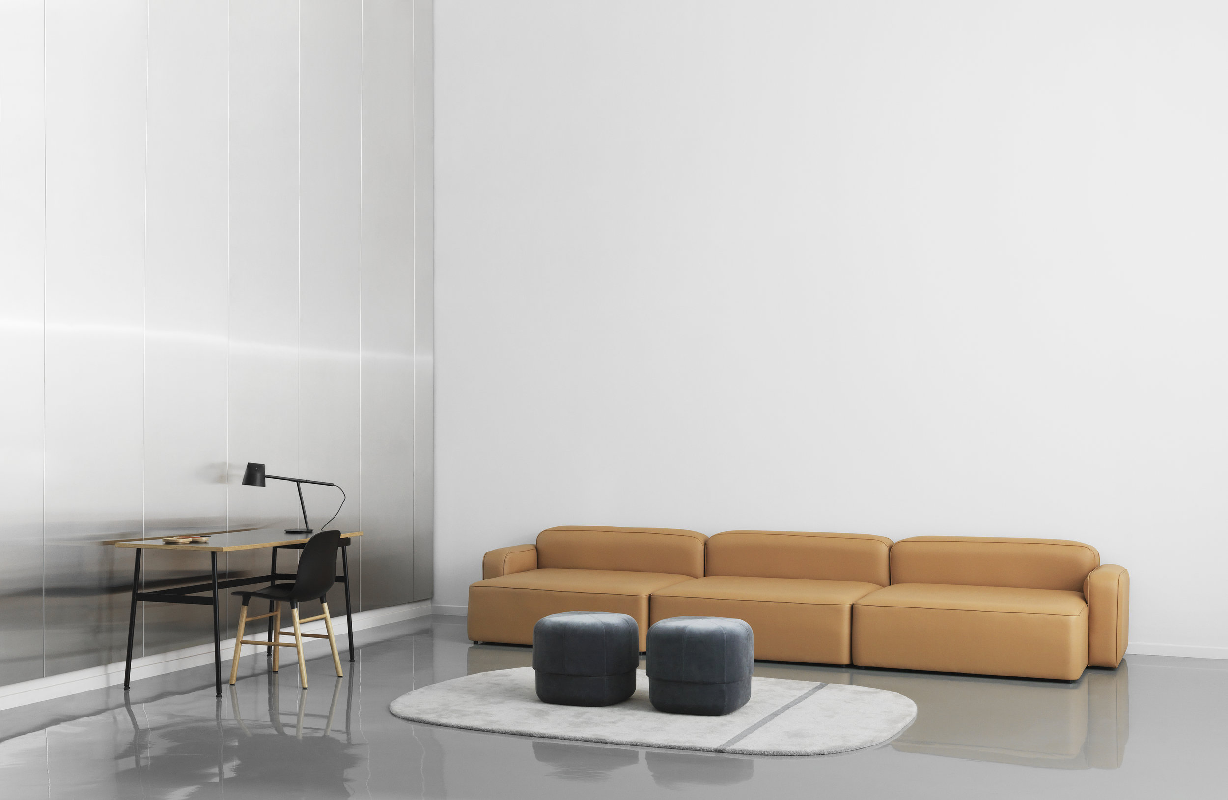 Normann Copenhagen Oona Area rug and Rope Sectional Sofa