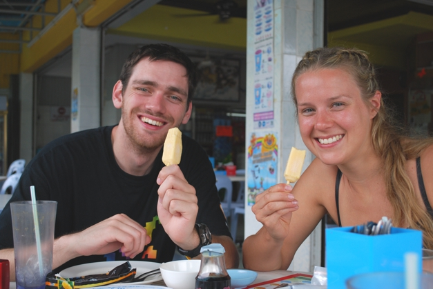 Mango and Durian ice lollies