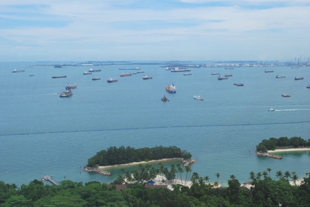Sentosa - an island full of fun for everyone. Opposite the world's busiest shipping port