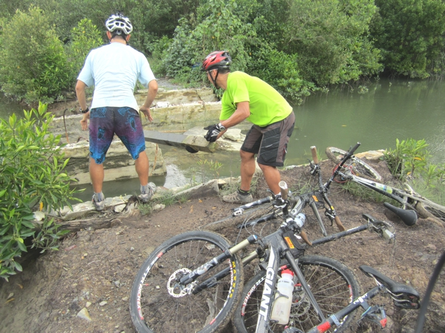 Second obstacle - I'm sure there was a bridge here last time, says Luke...