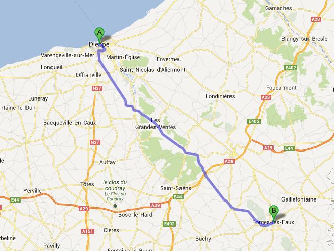 Forges-Les-Eaux stop en route to Paris