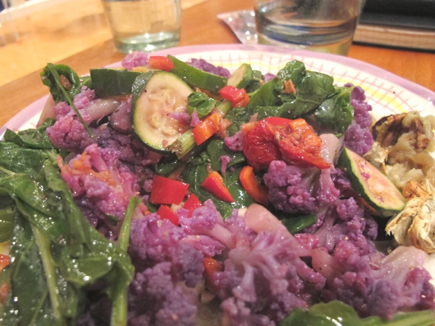 Purple and green vegetables