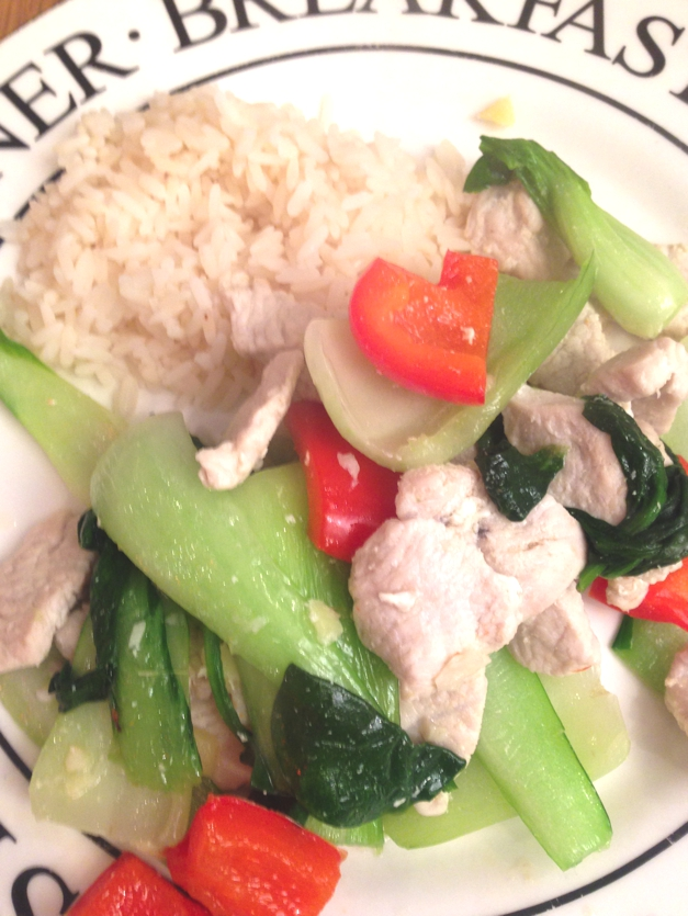 Turkey, pok choi and rice