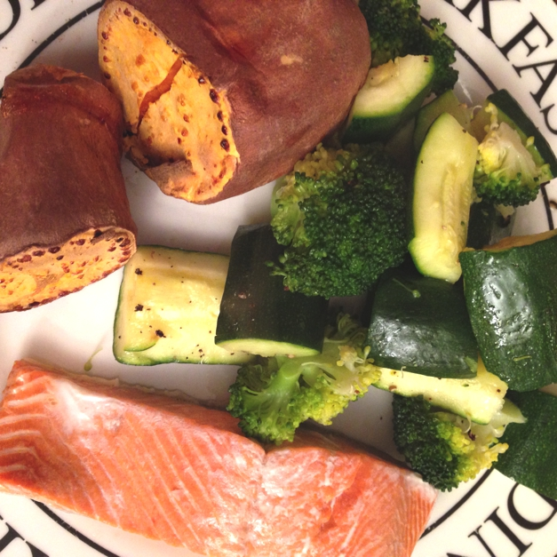 Salmon, sweet potato and steamed green veg