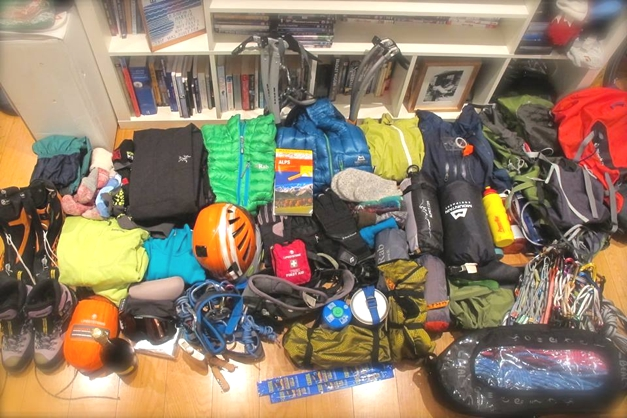 Packing for a winter mountaineering trip for two
