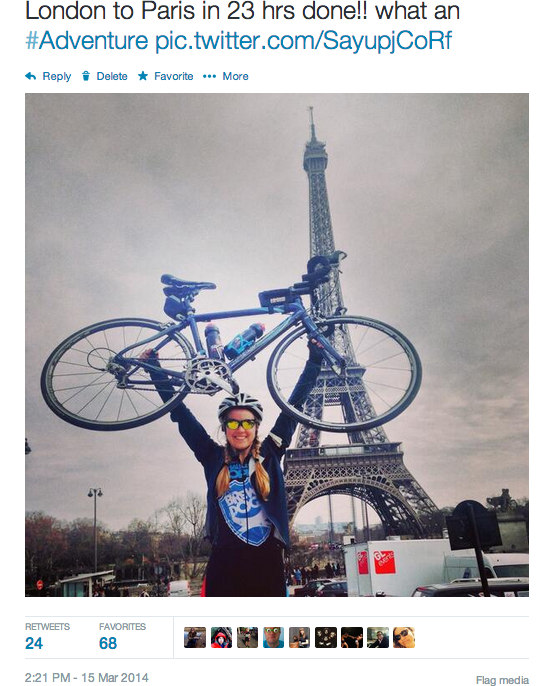 Sophie Radcliffe, London to Paris Cycling Challenge