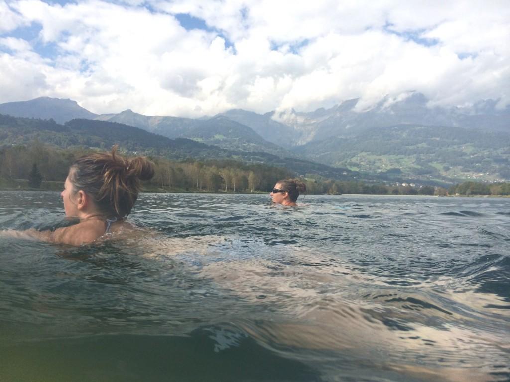 Sophie Radcliffe swimming in Lake Passy, Chamonix