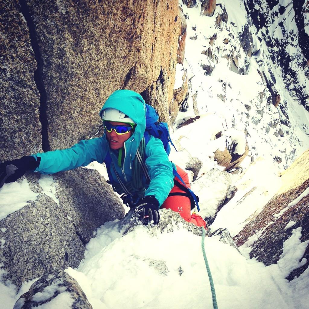 Sophie Radcliffe climbing Cosmiques Arete in Chamonix