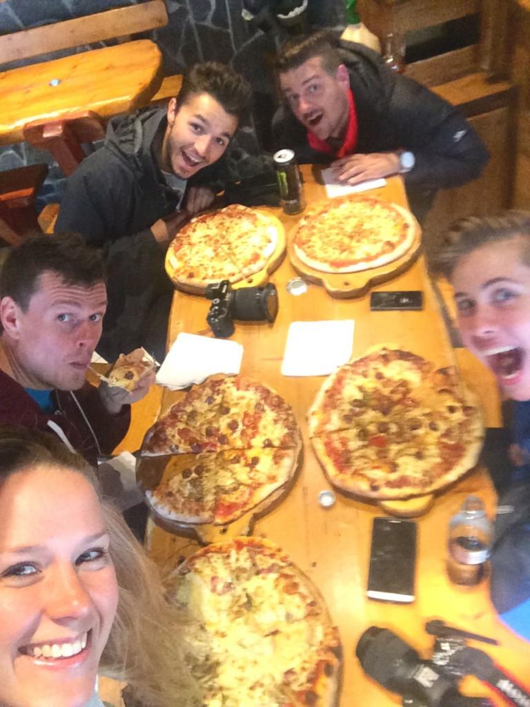 Pizza with TimeCodePro film crew in Chamonix