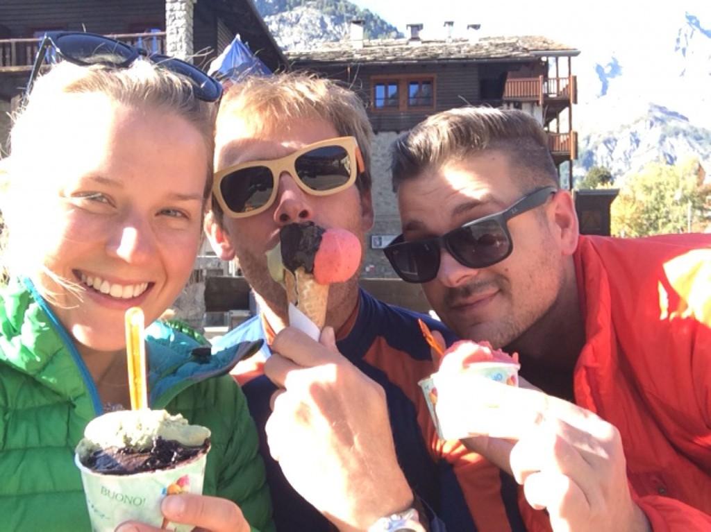 eating icecream in Courmayeur