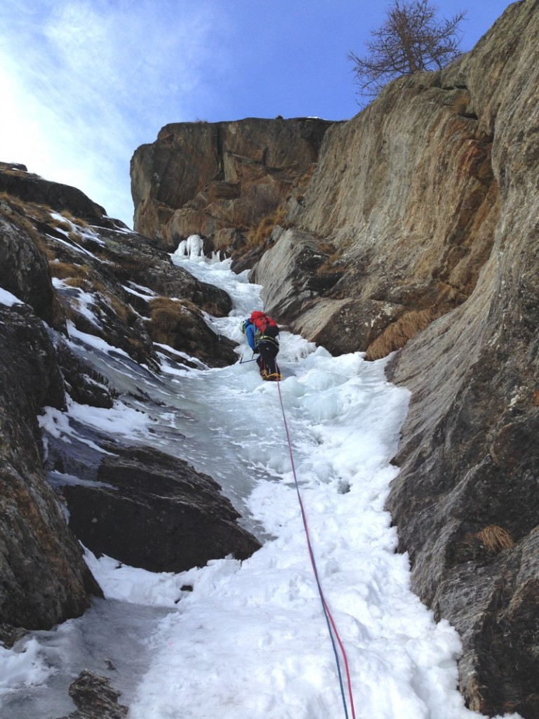 Open all winter Sophie Radcliffe ice climbing in Chamonix