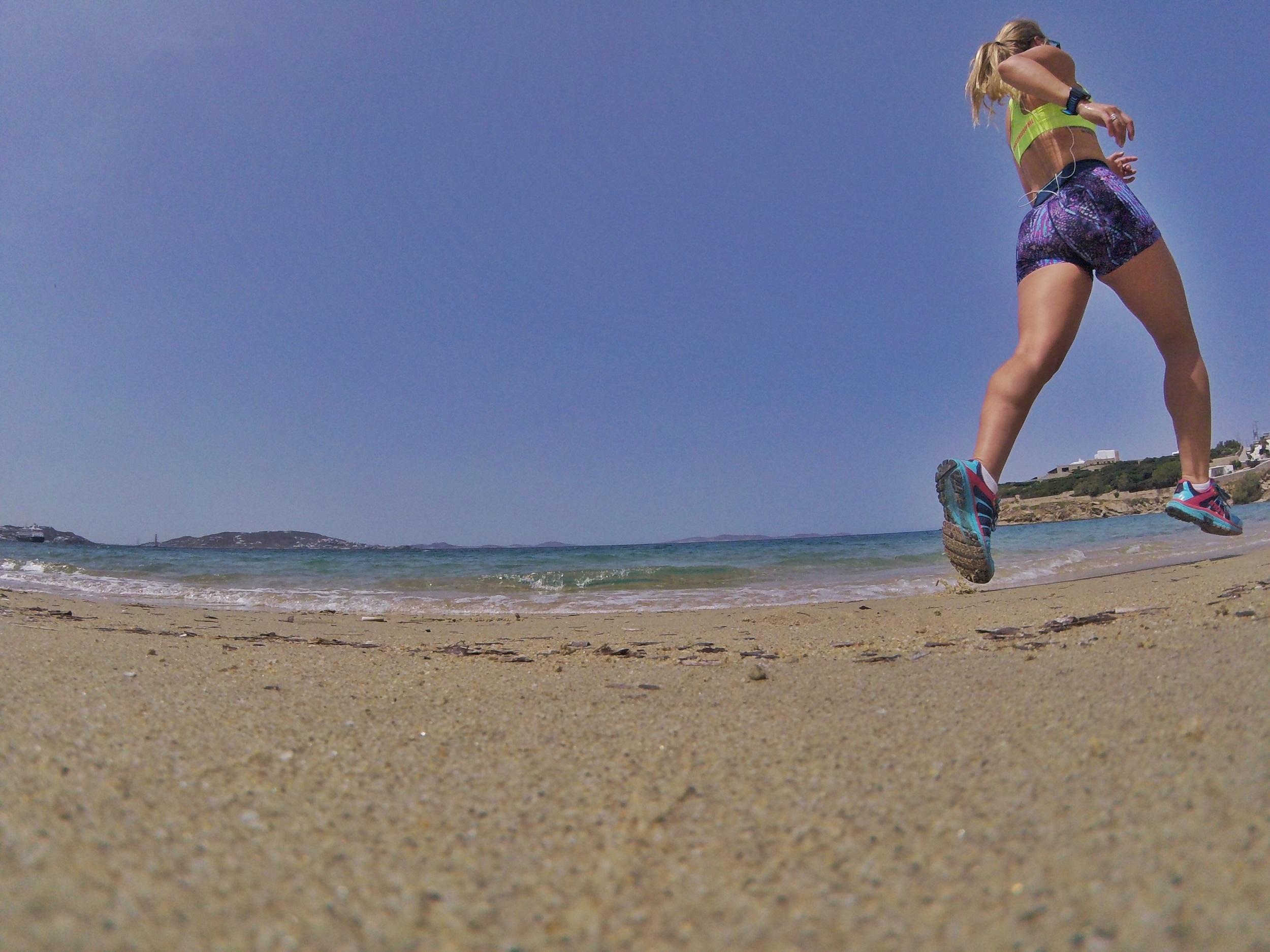 Beach running in Mykonos