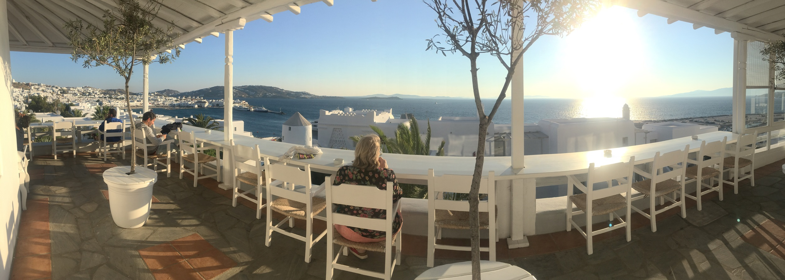 Mum enjoying the tranquility of Porto Mykonos