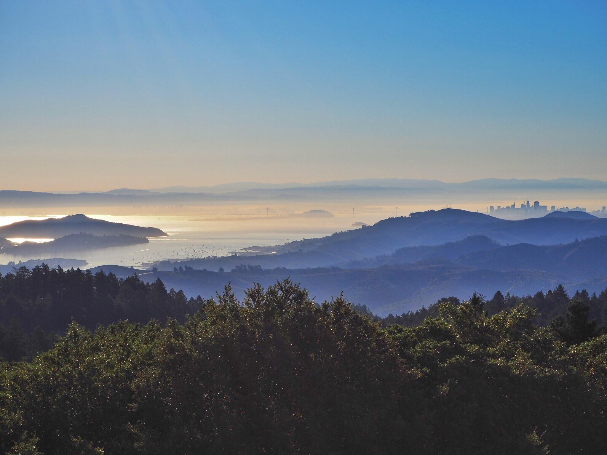 Sunrise overlooking San Francisco and The Golden Gate Bridge