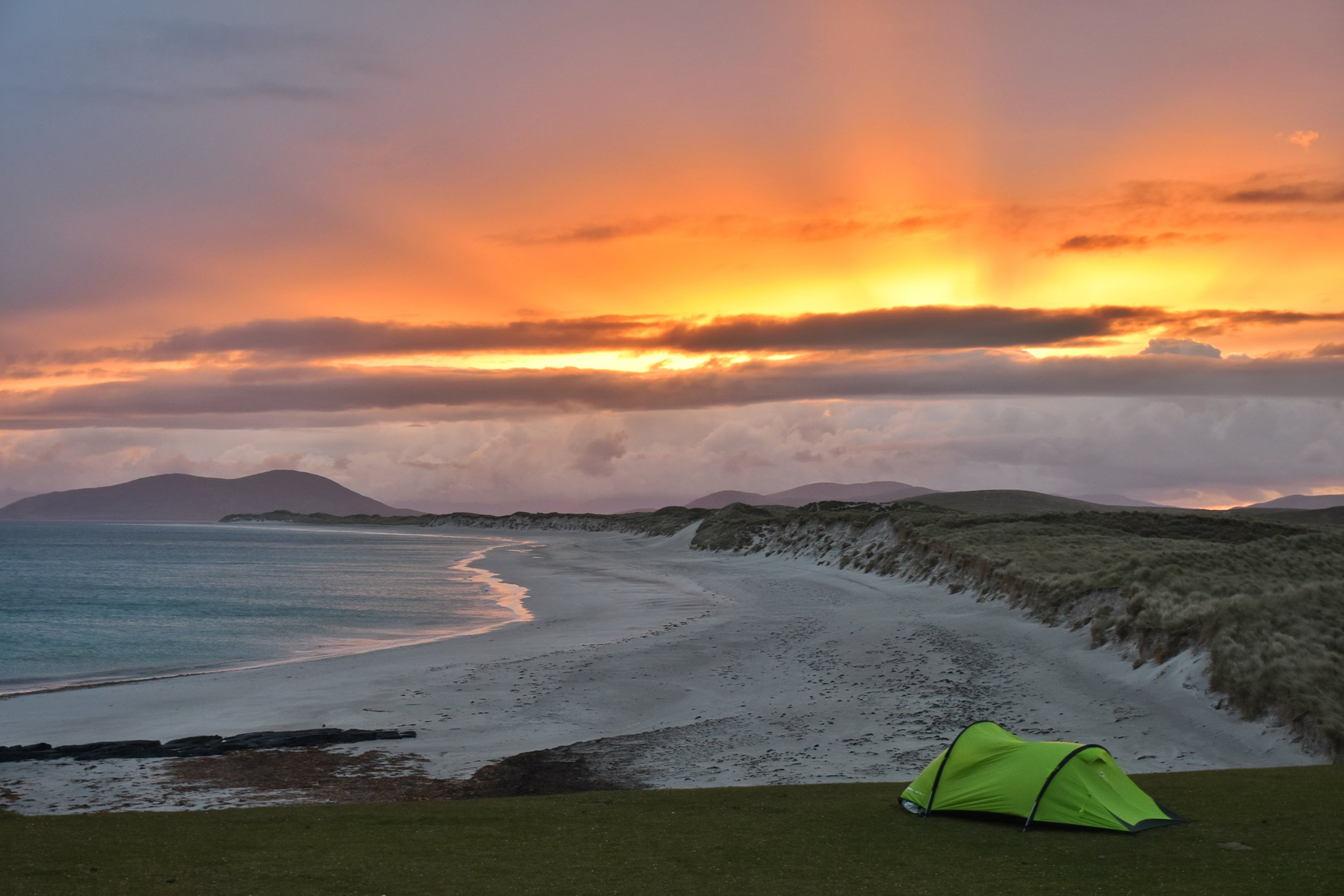 Wild Camping, Outer Hebrides, Scotland, Berneray Beach, Uist