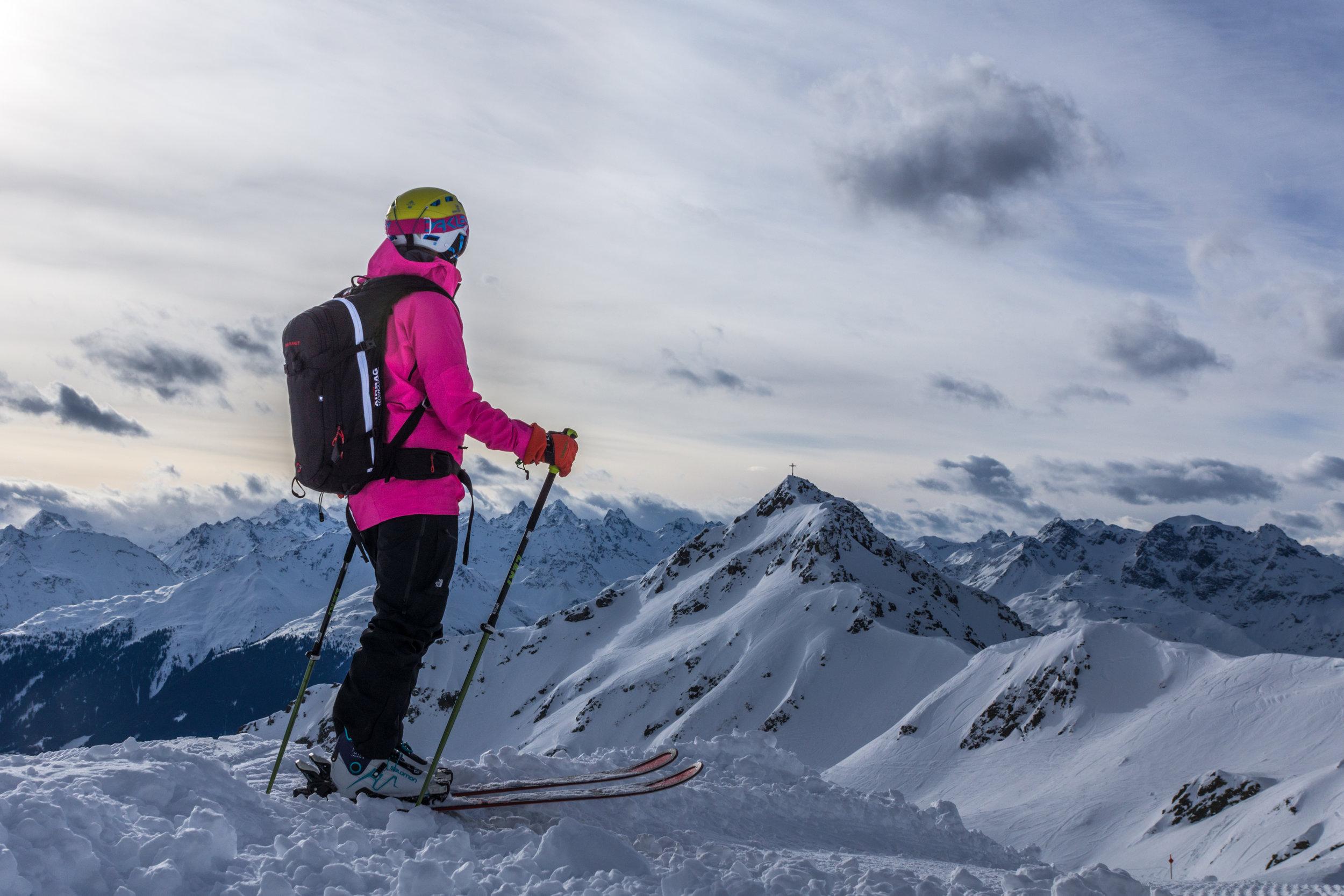 Skiing touring, Austria, Vorarlberg. Ski Ride off piste. Montanan