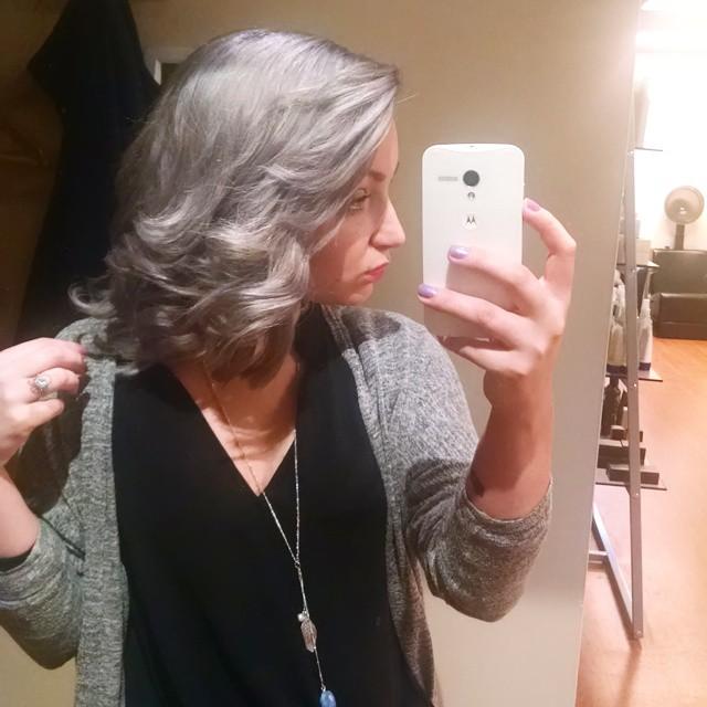 That's our stylist Kara, rocking granny hair using aveda haircolor. Isn't it fun? #grannyhair