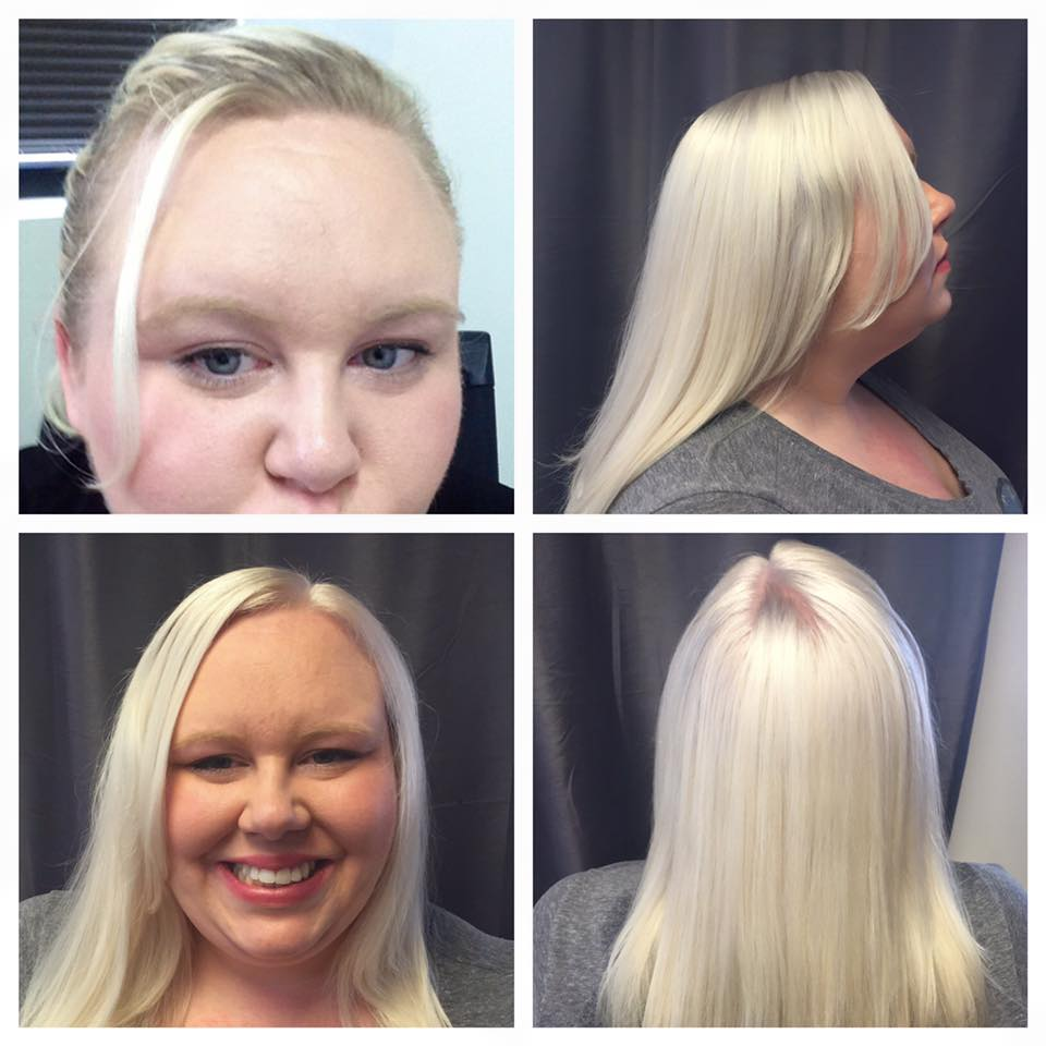One scalp lightening and refresh to a silver-platinum all over with olaplex to help condition the hair. Done by Sarah H.