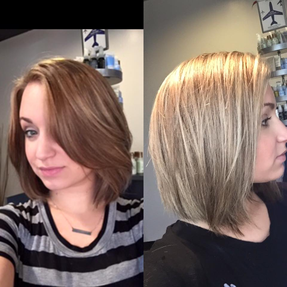 From dark to light! Utilizing the baby-light technique, we got rid of some of the dark pieces and created a brighter, ashier blonde. Done by Sarah H