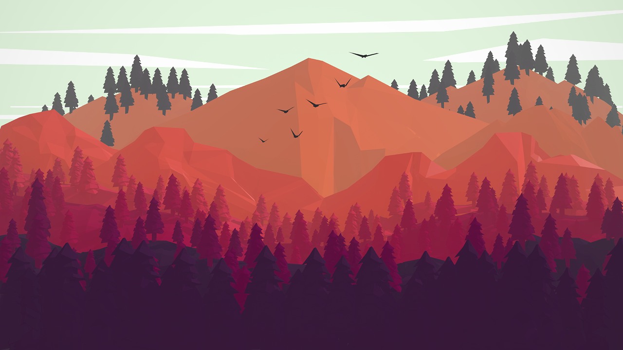 "Day 2 - ""Trees""  I do this kind of scene all the time so decided to do some fanart based on the game Firewatch."