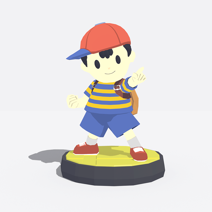 Ness Amiibo Fanart - 3rd Entry For Lowpoly Dailies