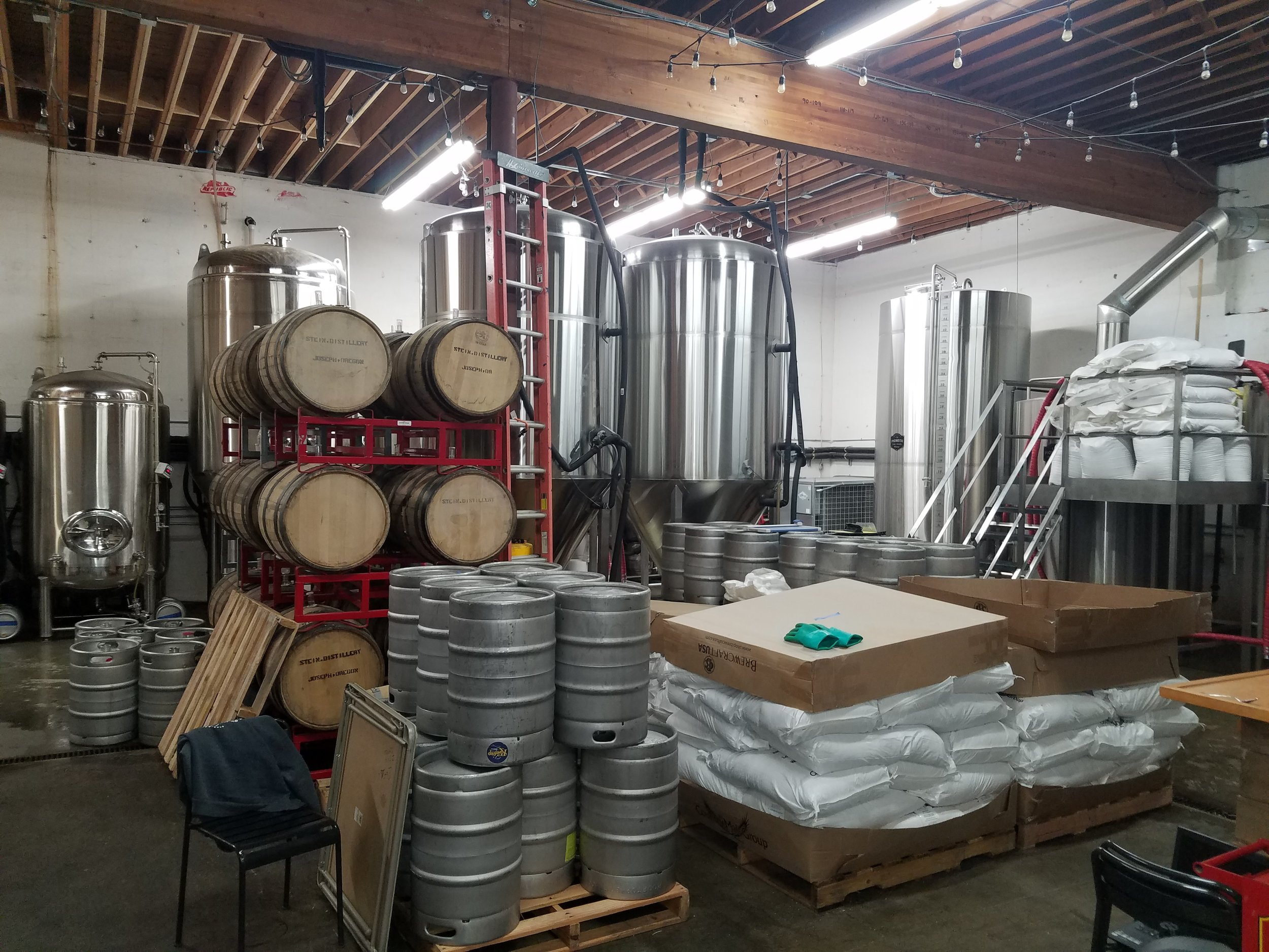 I can't really imagine the room for events down here, but Craig says it cleans up nicely! There's the 15 bbl kettle off to the right and all their 30 bbl ferms in the back behind the barrels.