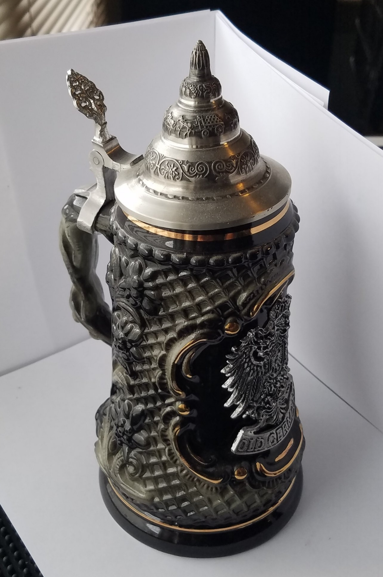This stein is so large and glorious that it is busting out of my homemade light box